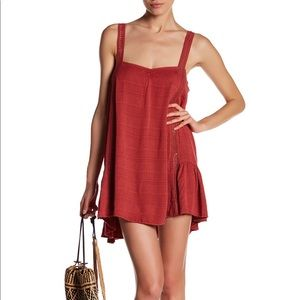 Anamá Shift Eyelet Dress in red